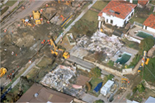 Aerial view of a disaster zone